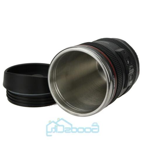 Camera Cup Coffee Travel Thermos Steel, Leak-Proof Lid