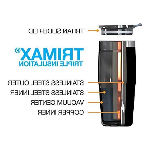 EcoVessel Metro TriMax Vacuum Insulated Stainless Tumbler Slider oz