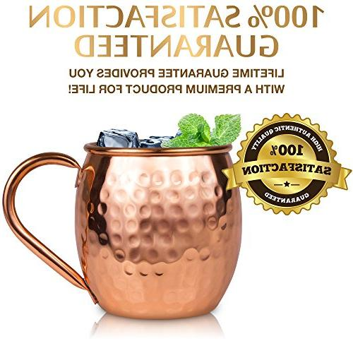 Moscow Mule Copper Set 16 oz. Solid Genuine Mugs 4 4 Coasters, & Shot Glass : in Gift Box, by Yooreka