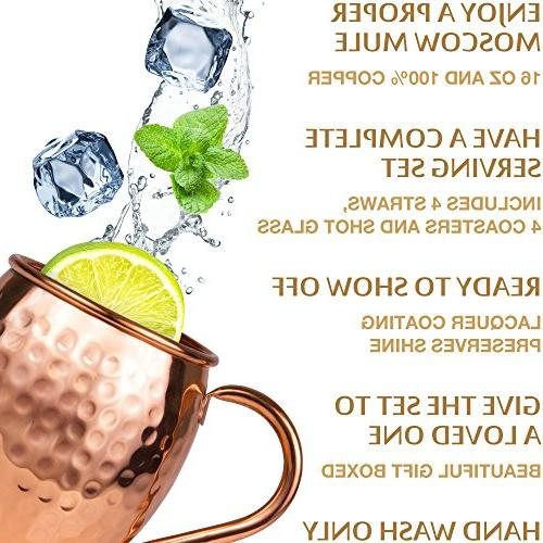 Moscow Mule Set : 4 oz. Solid Mugs in India, 4 Coasters, & Glass : Gift by Yooreka