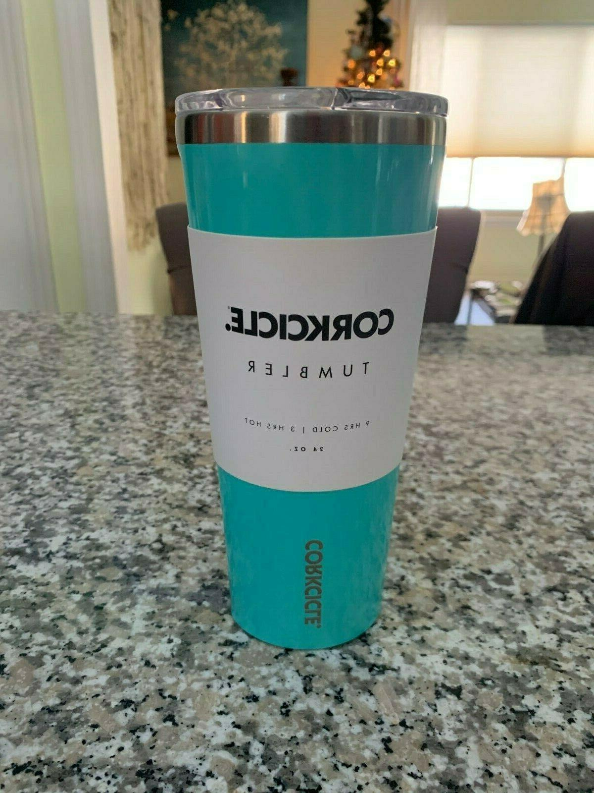 new 24 oz tumbler large turquoise water