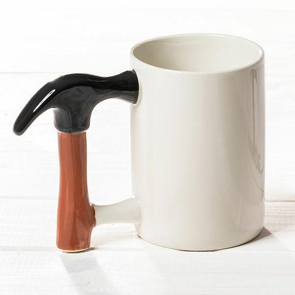 NEW HAMMER HANDLE SHAPED MUG CUP COFFEE TEA CERAMIC WHITE NO