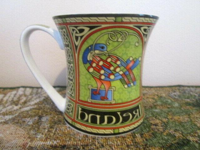 New IRELAND Ornate Celtic Peacock Trinity Knots Bone China Cup Mug