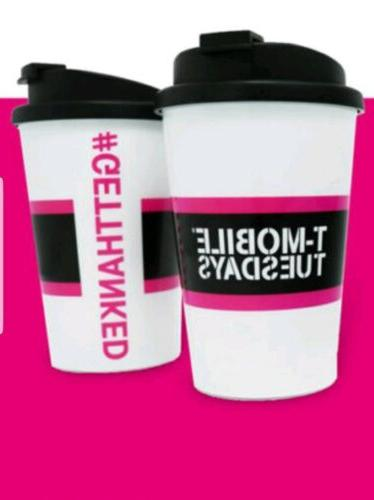 New T-Mobile Travel Mug Cup w/ Lid, Snap Seal - BPA Free - M