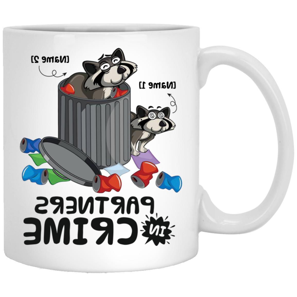 Personalized Partners In Crime Raccoon Coffee Mug – Gift f
