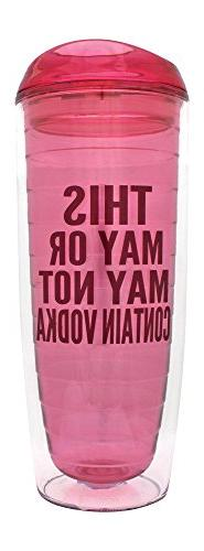 """Pink """"This May or May Not Contain Vodka"""" Tumbler - Funny Dou"""