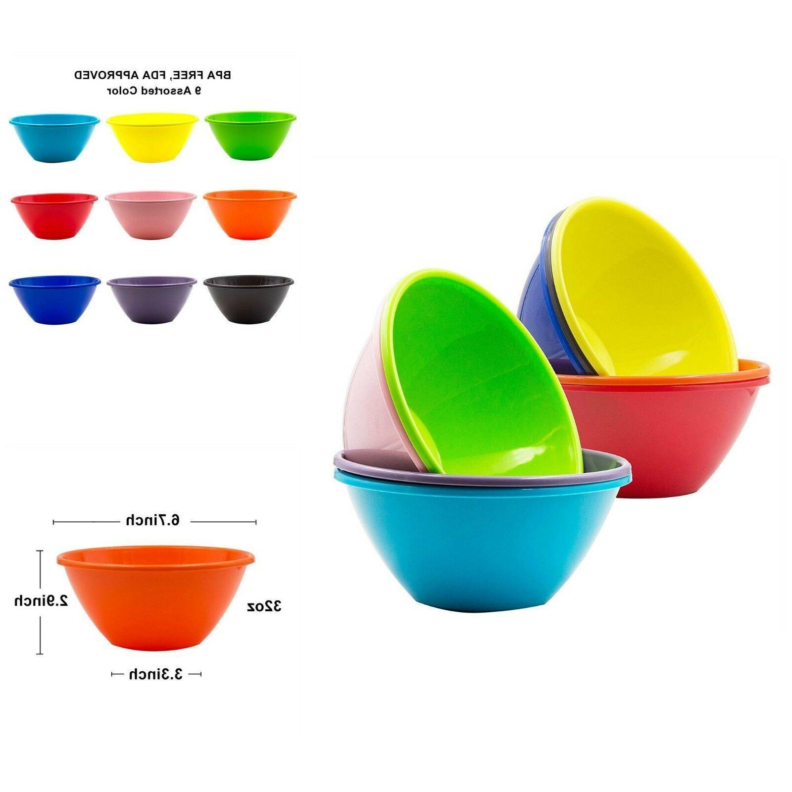 Plastic Cereal Soup Bowls Large 32 Ounce Microwave Safe Set