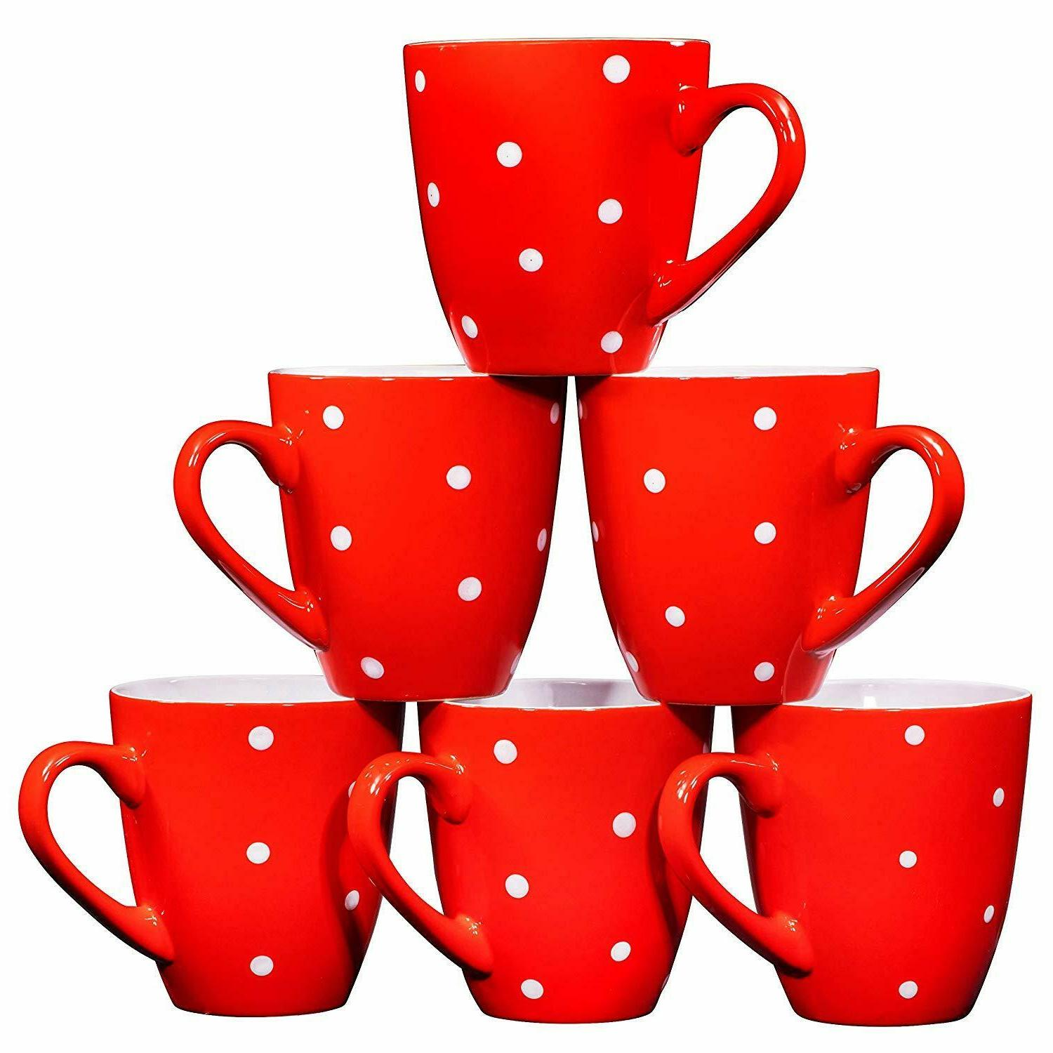 Bruntmor Ceramic Coffee Mugs Set of 6 Large sized Polka Dot