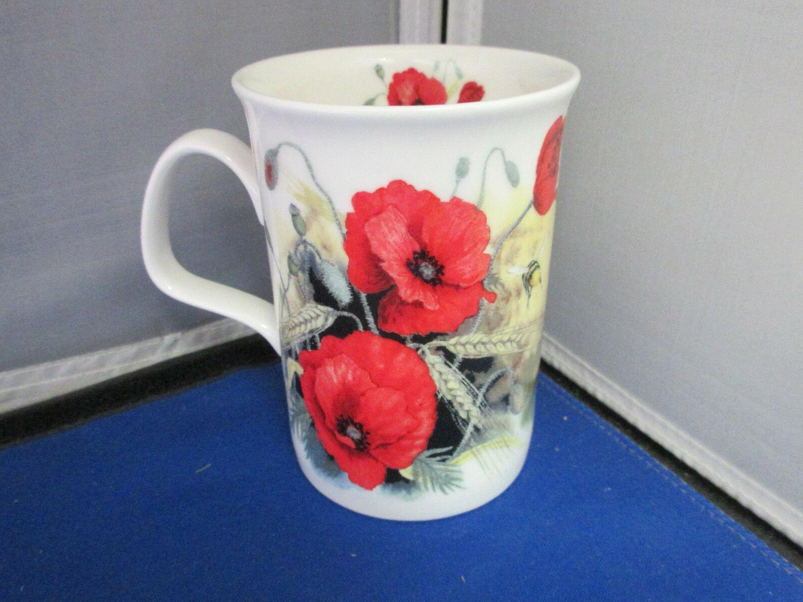 "POPPY ""FOUR"" FINE BONE CHINA mugs, England"