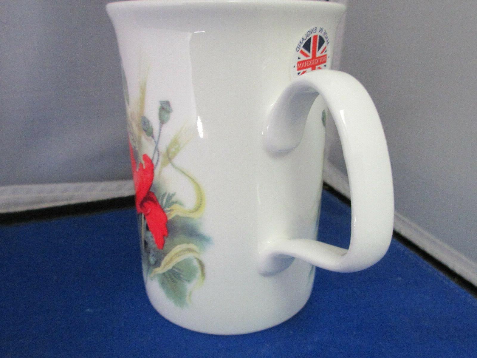 "POPPY ""FOUR"" BONE CHINA mugs, Made England Kirkham"