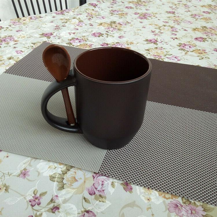 Coffee Cup 6, with Accent Spoon Tea Cups 12 Oz. Mugs Black