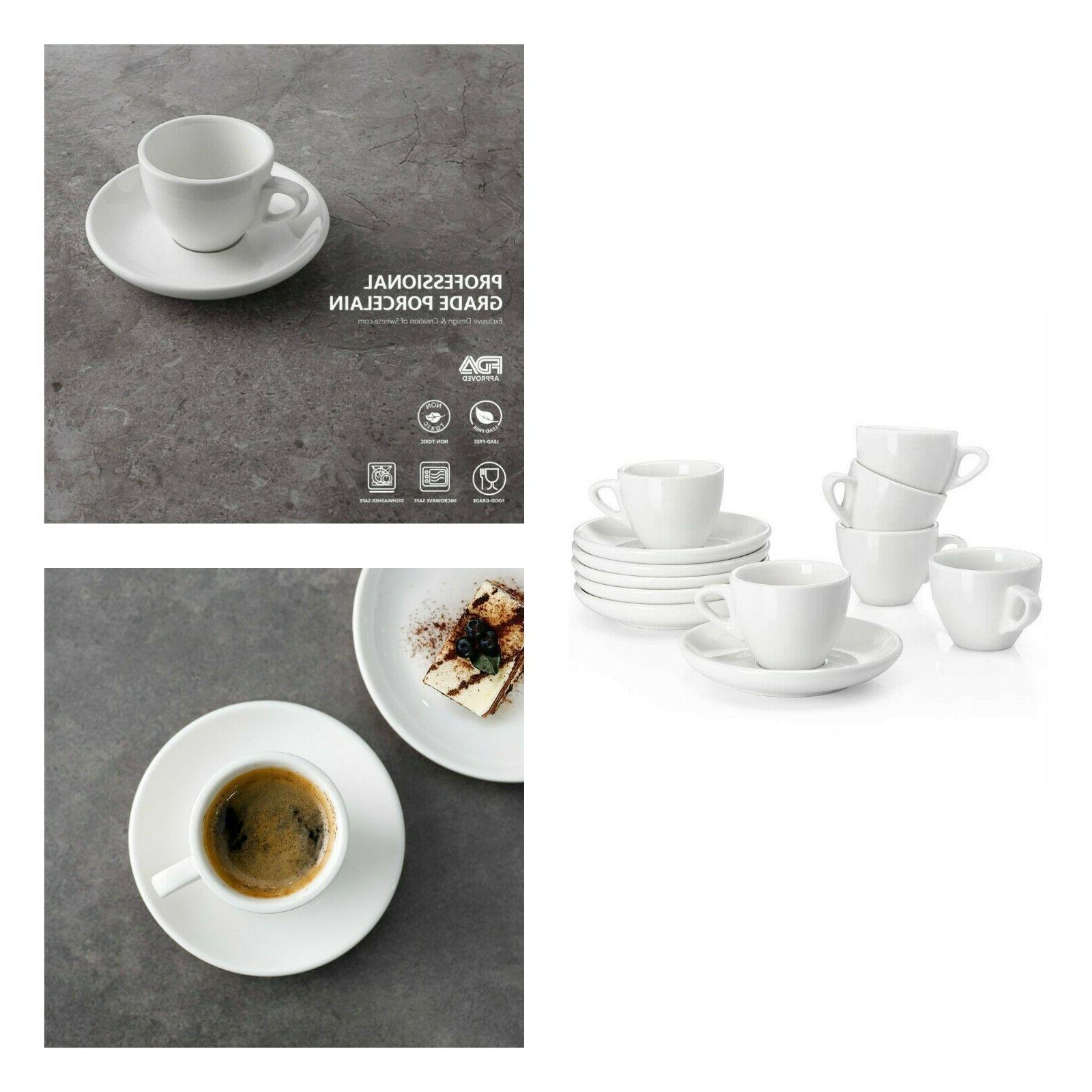 Porcelain Espresso Cups With Saucers White Cup Saucer Dining