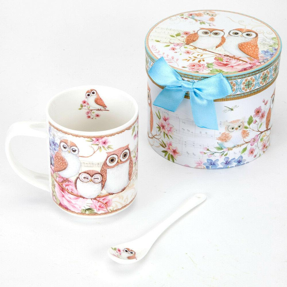 Bits Pieces-Porcelain Owl Mug with Teaspoon-10oz Coffee or Tea- Boxed