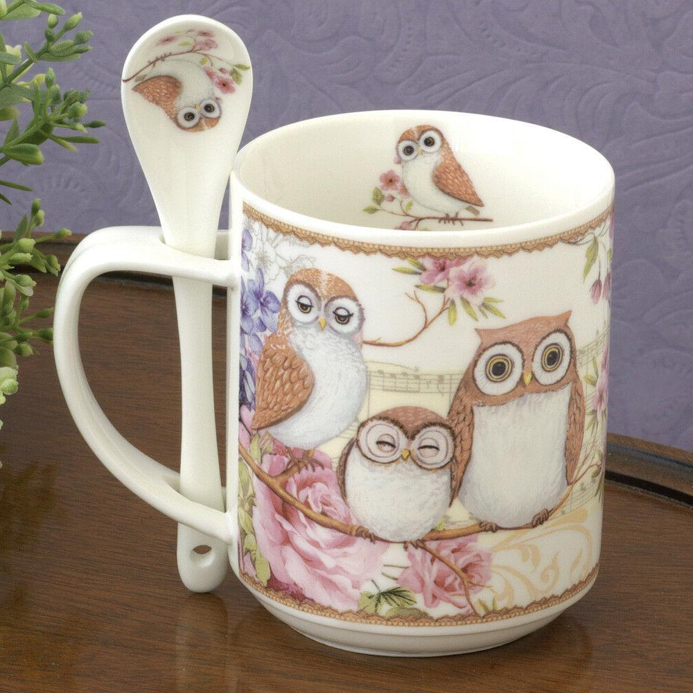 porcelain owl mug with teaspoon 10oz coffee