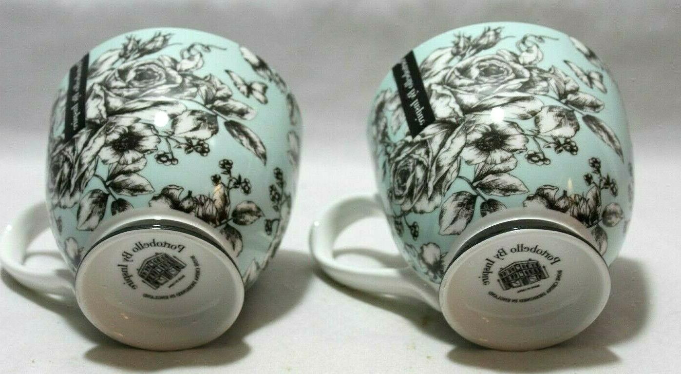 Portobello & Roses Lt. Blue Bone China Coffee Mugs Set