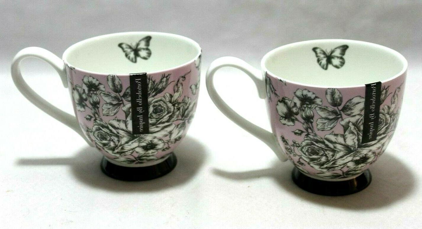 portobello black and white roses on pink