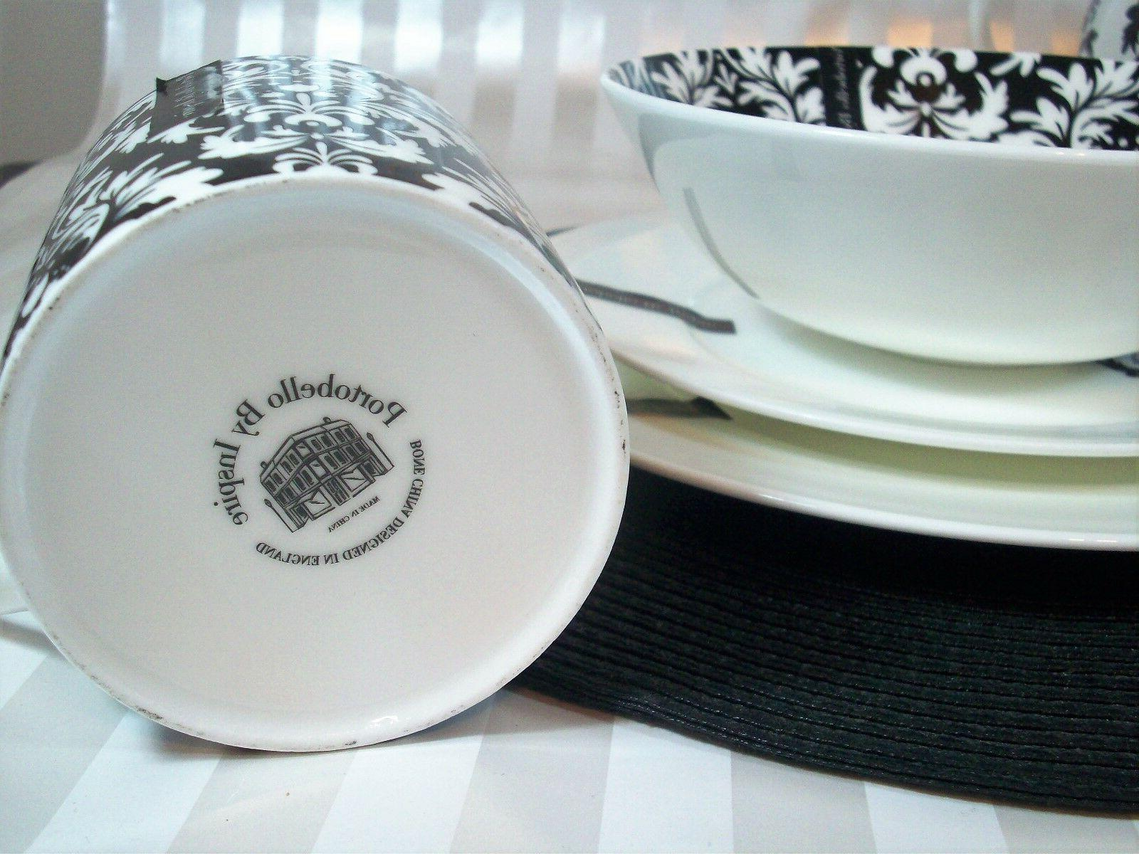 Portobello CHINA Black & Dinnerware Set 16-PC Plates - NEW
