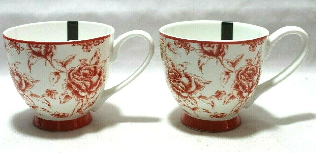 Portobello & White Roses on Bone China Coffee Mugs of