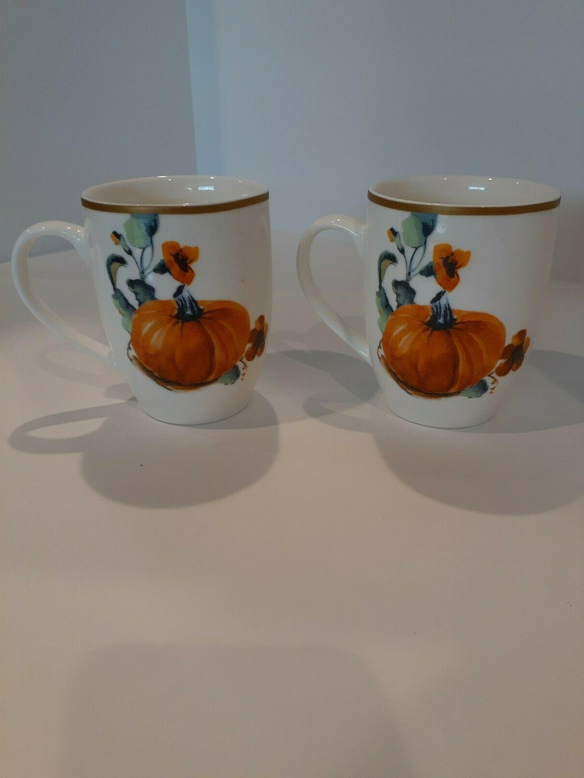 pumpkin coffee mug two sided set of