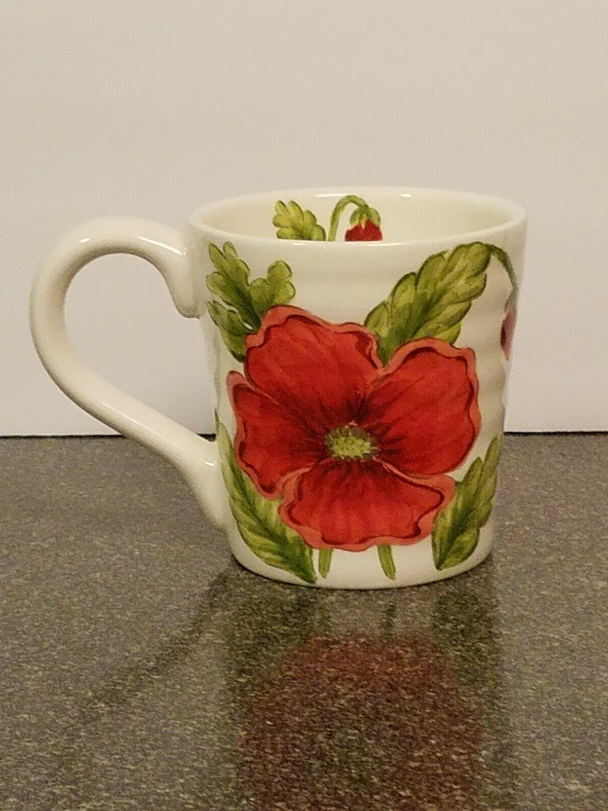 4 Maxcera Mugs  - RED POPPIES ~ Mug SET OF 4  Tea, Coffee Cu