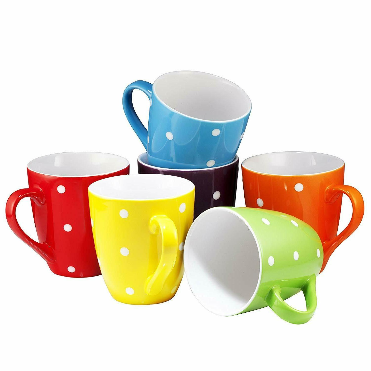 Restaurant Coffee Mugs Set of 6 Dot Ceramic Safe New