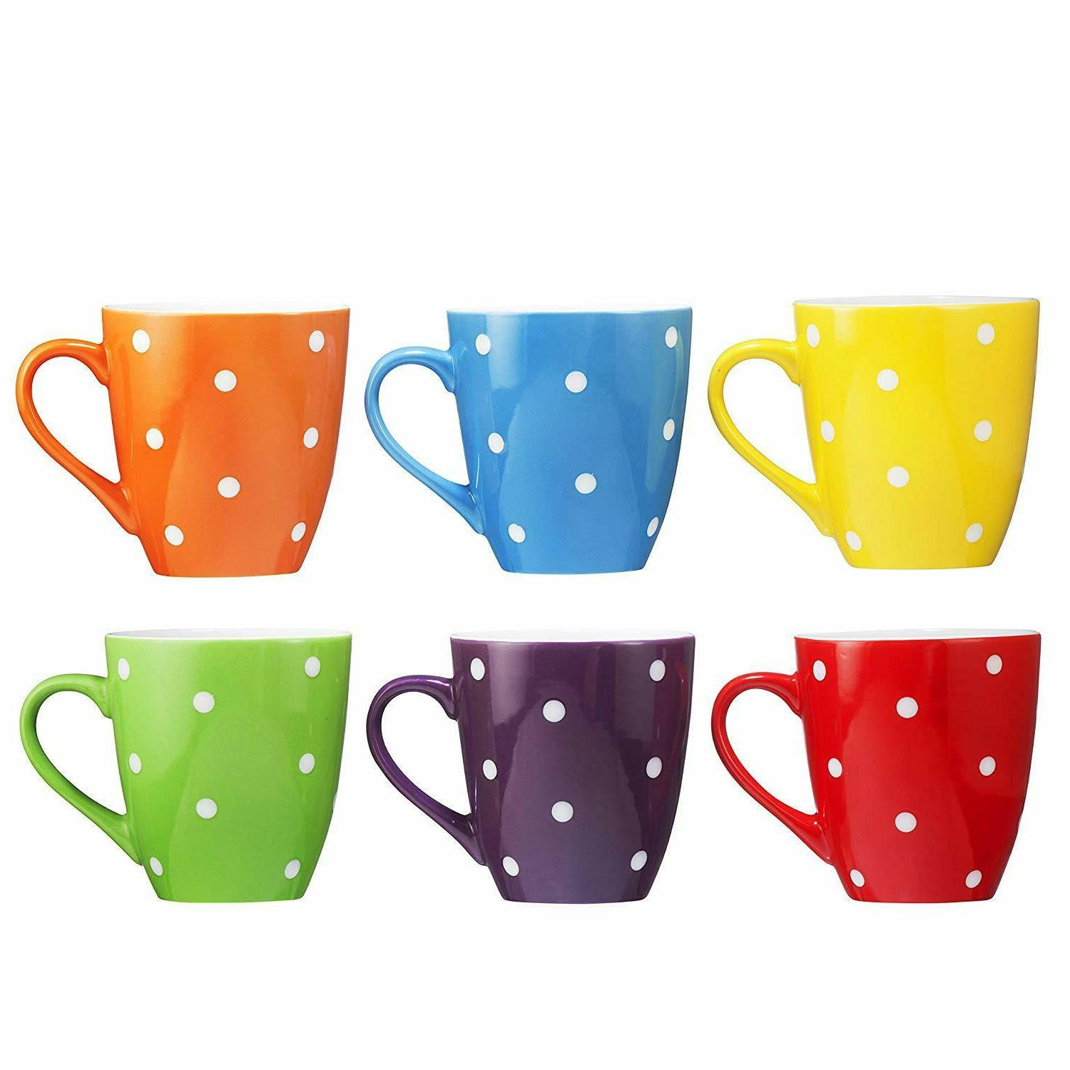 Restaurant Mugs of 6 Dot Ceramic New