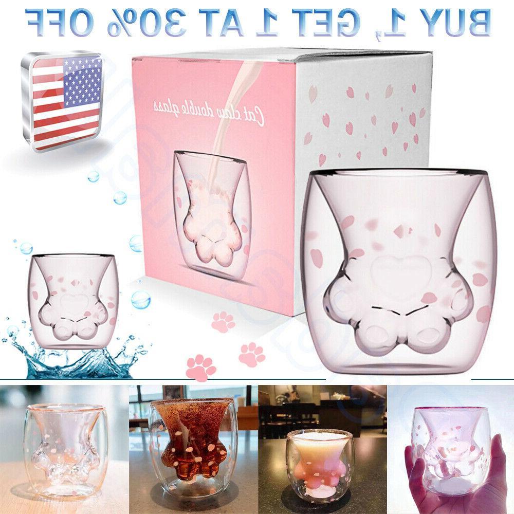 sakura cat paw glass cup coffee milk