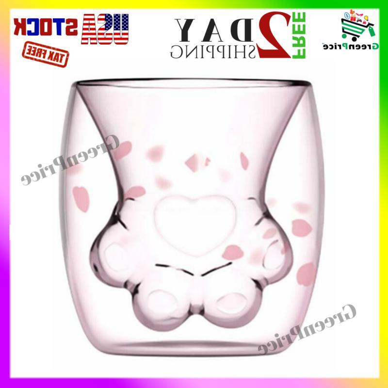 Sakura Cat Paw Glass Cup Coffee Milk Mug Pink Cat's Paw For