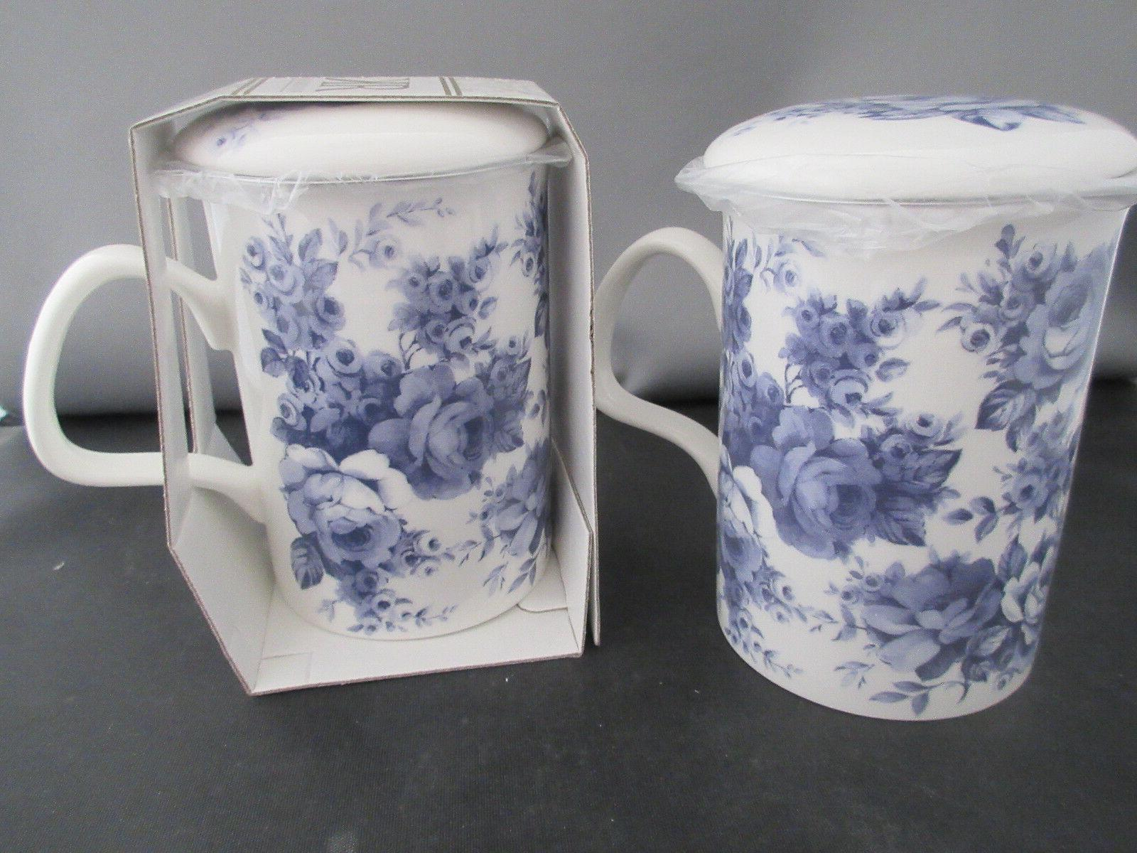 set of 2 blue chintz infuser mugs