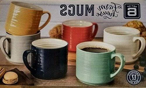 Set of 6 Stoneware Coffee Mugs 17 oz Cup Multi Color