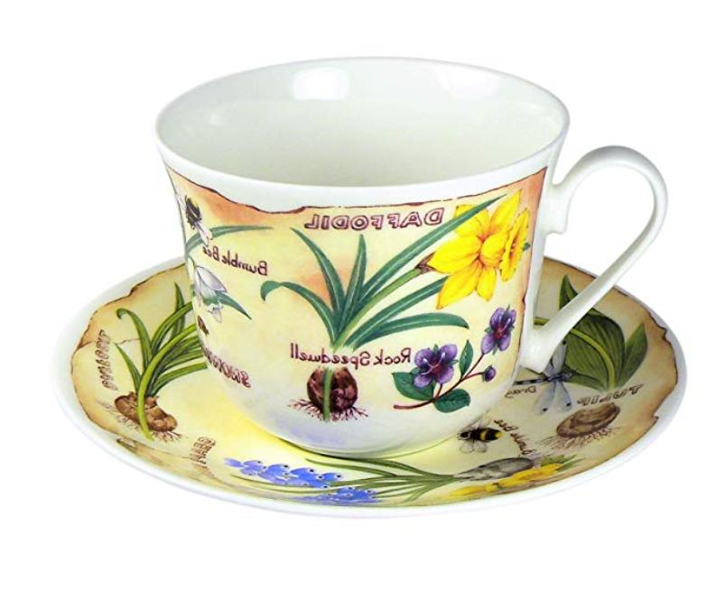 spring flowers breakfast tea cup and saucer
