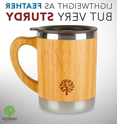 Stainless Coffee - Wooden Cup with Handle & Lid On the Keep Hot Longer for Men - 11 300