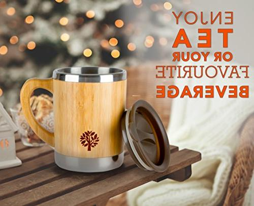 Stainless & Bamboo Coffee Mug Insulated Wooden with & Lid On the Go - Longer for - 300