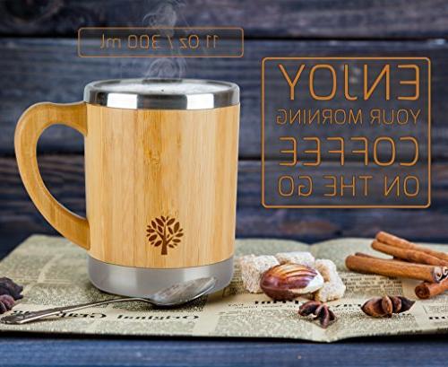 Stainless Coffee Mug - Wooden On Keep Tea Longer - for & - 300 ml