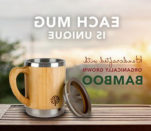 Stainless Coffee Wooden with & Lid - On the Keep Your Tea Longer for & Women - 11 oz 300