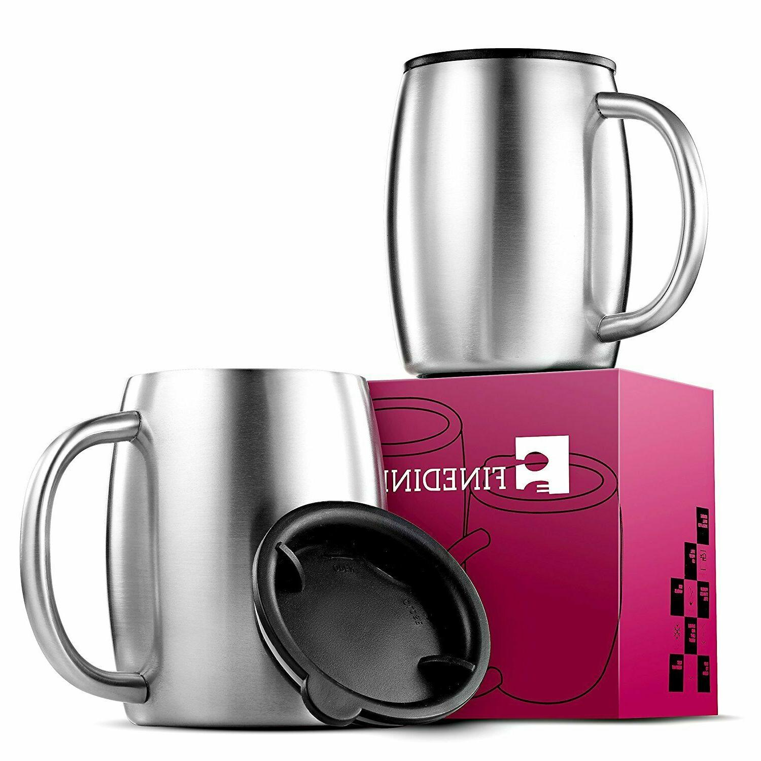 stainless steel coffee mugs with lids set