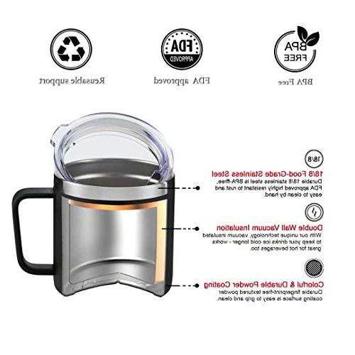 SIMPLE 14oz Stainless Steel with Handle,Double Wall Wine with Lid,Perfect for & Beverages,Home,Office Outdoors