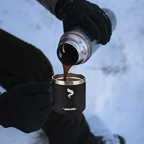 SIMPLE DRINK Steel Insulated Coffee with Handle,Double Wine Tumbler Lid,Perfect Cold & Hot Outdoors