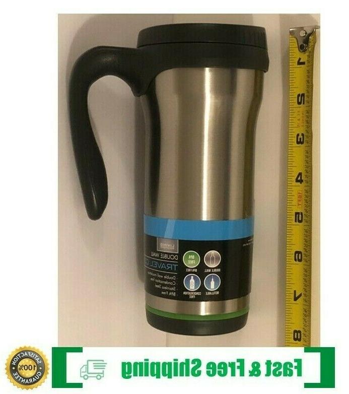 stainless steel insulated double wall travel coffee