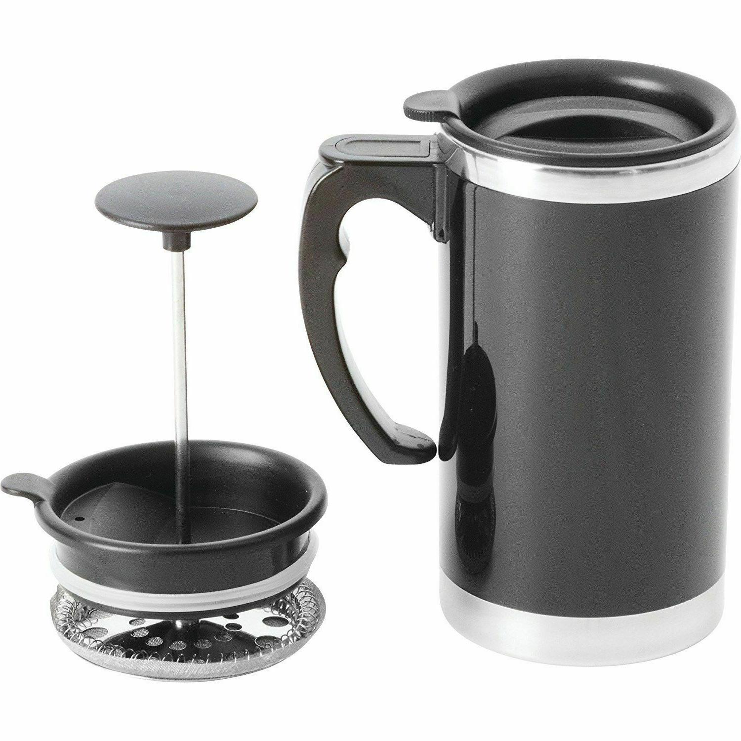 stainless steel lined travel french press mug