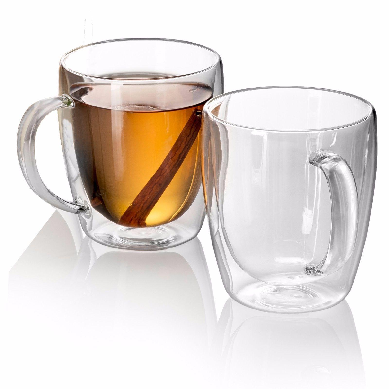 Set Clear Glass Coffee Mug Espresso Cup 10 oz