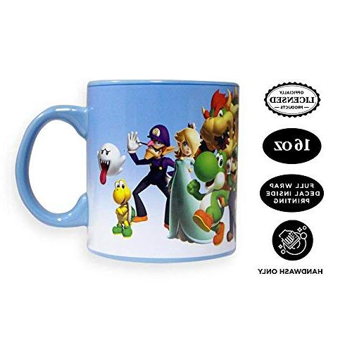 Official Super Coffee, Featuring MARIO, LUIGI, TOAD, DONKEY and Set of 1, 20oz Large Ceramic