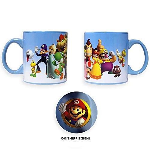 Official Super Coffee, Latte Featuring LUIGI, TOAD, KONG, PRINCESS and BROWSER Set of 1, 20oz GIFT Large Ceramic Mugs/Cups