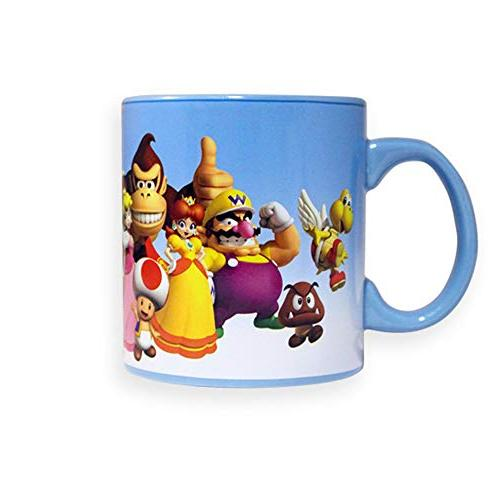 Official Super Ceramic Coffee, Cup Featuring MARIO, TOAD, and BROWSER Large Ceramic