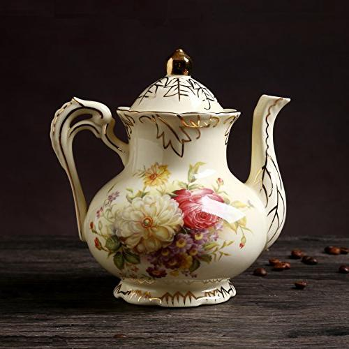 ufengke 11 Creative European Luxury Tea Ivory Coffee Set With Holder, Hand Painted Red And White Wedding