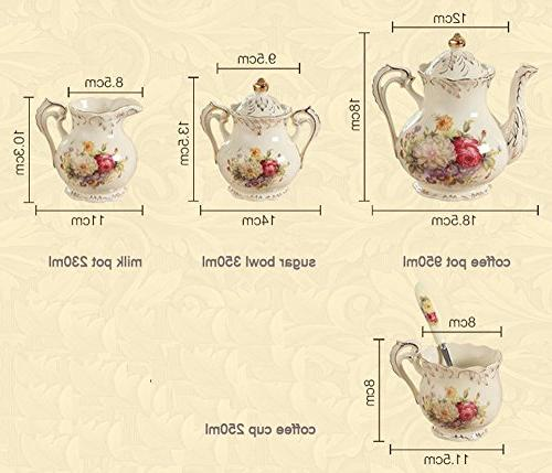 ufengke 11 European Luxury Tea Ivory Porcelain Set Holder, Hand Painted Wedding