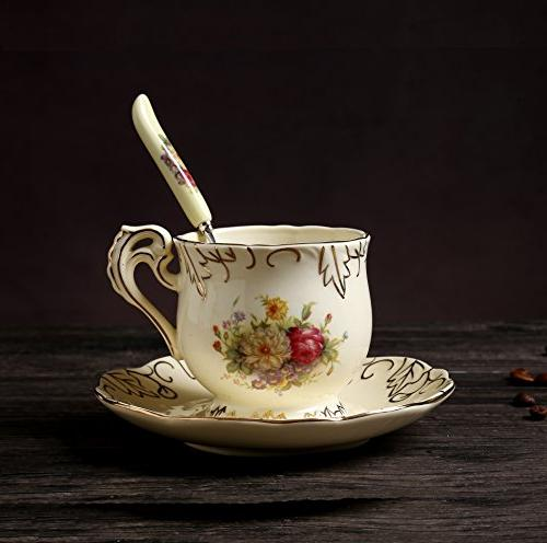 ufengke 11 European Luxury Tea Ivory Porcelain Ceramic Coffee Set With Hand Red White Rose Flower, For Wedding