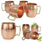 Vintage Copper Moscow Mule Mugs Set Of 4 Hammered Drinkware