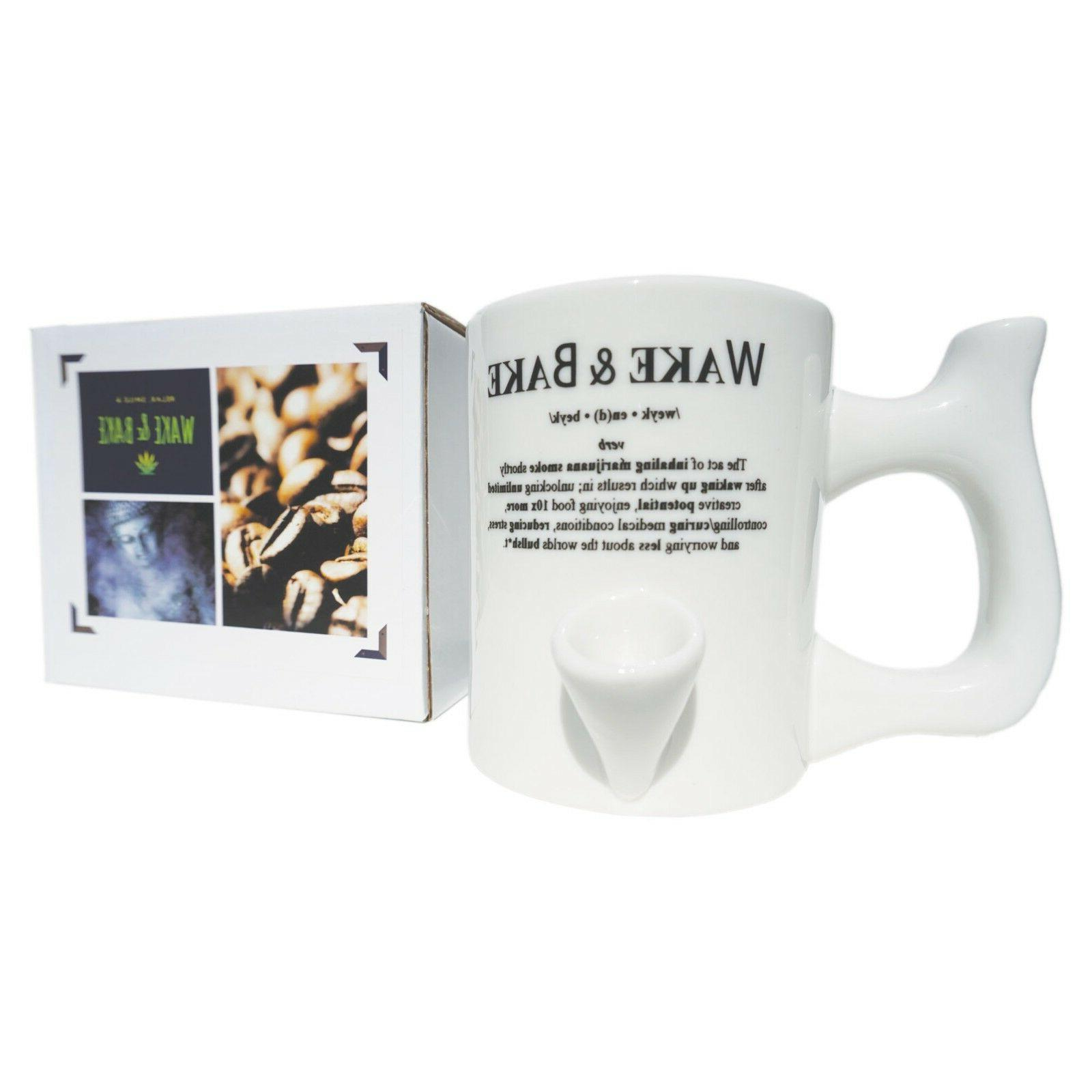 Wake and Bake Coffee Mug Smoking Pipe Solid Ceramic Cup