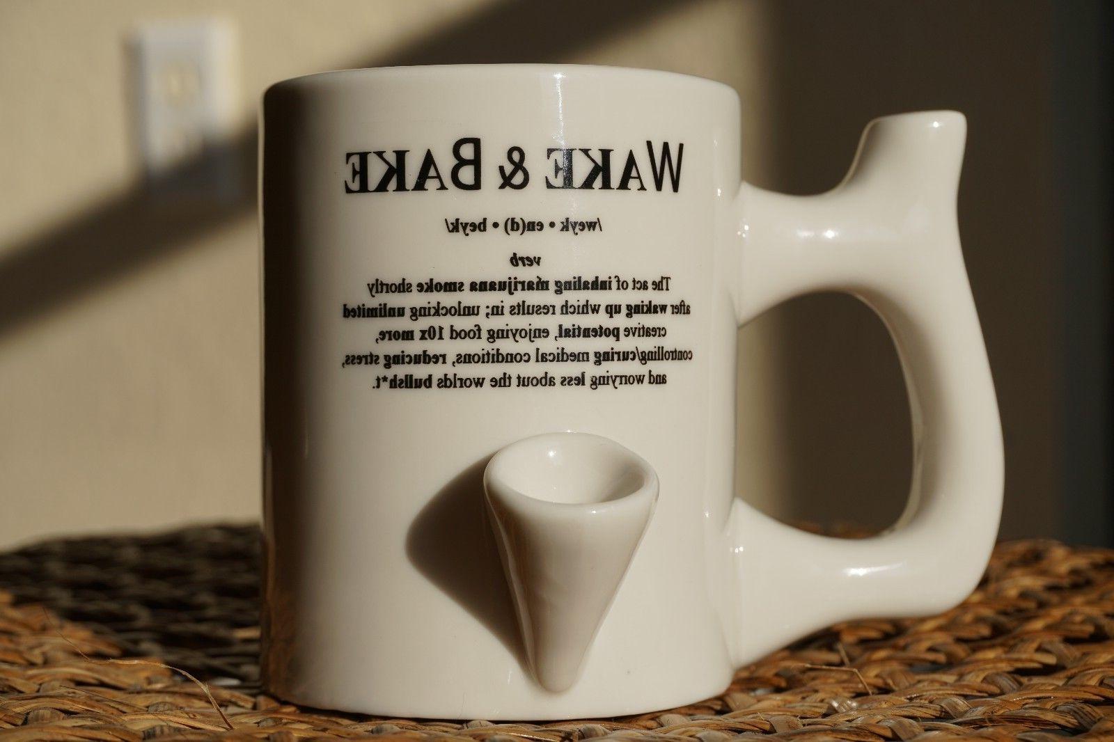 Wake and Bake Definition Coffee Mug Pipe Solid Ceramic